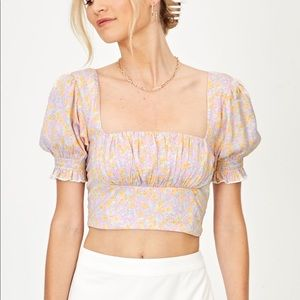 Glassons Puff Sleeve Floral Blouse pink smocked